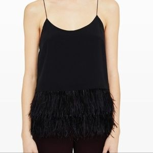 Club Monaco Doina Camisole with Ostrich Feathers